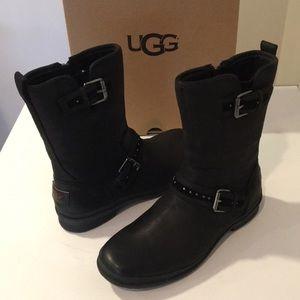 🎁New Ugg Jenise Black leather 💦💦💦boot Sz 6.5